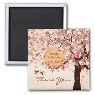 Love Birds - Fall Wedding  Thank You Favor 2 Inch Square Magnet