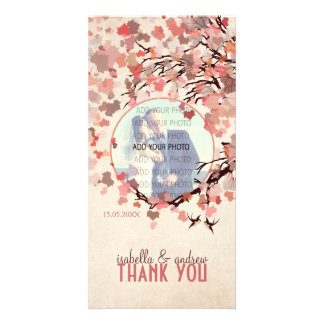 Love Birds - Fall Wedding Thank You Personalized Photo Card