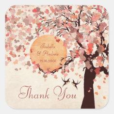 Love Birds - Fall Wedding  Thank You Sticker