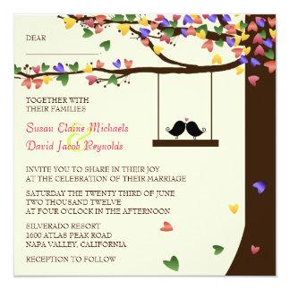 Love Birds Falling Colorful Hearts Oak Tree 5.25x5.25 Square Paper Invitation Card