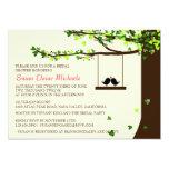 Love Birds Falling Hearts Oak Tree Bridal Shower 5x7 Paper Invitation Card