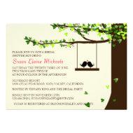 Love Birds Falling Hearts Oak Tree Bridal Shower Announcement