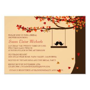 Love Birds Falling Hearts Oak Tree Bridal Shower Personalized Announcements