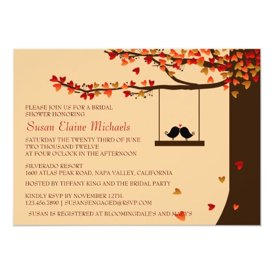 love birds falling hearts oak tree bridal shower invitation