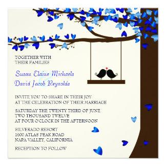 Love Birds Falling Hearts Oak Tree Custom Announcements