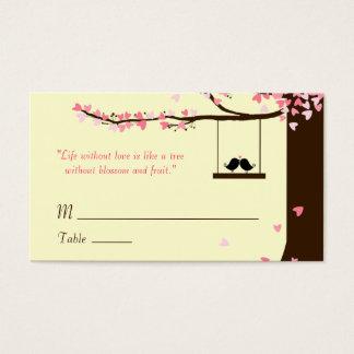 Love Birds Falling Hearts Oak Tree Name Cards