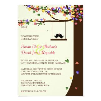 Love Birds Falling Hearts Oak Tree Per 5x7 Paper Invitation Card