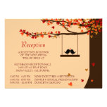 Love Birds Falling Hearts Oak Tree Reception Card Personalized Invites