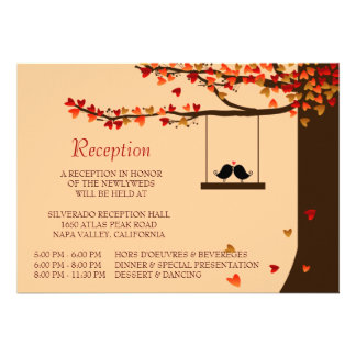 Love Birds Falling Hearts Oak Tree Reception Card Personalized Invites