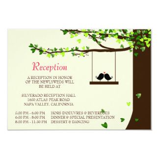 Love Birds Falling Hearts Oak Tree Reception Card Personalized Announcement
