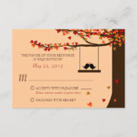 Love Birds Falling Hearts Oak Tree RSVP