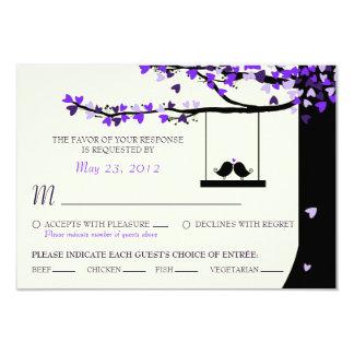 Love Birds Falling Hearts Oak Tree RSVP (Meal) 3.5x5 Paper Invitation Card