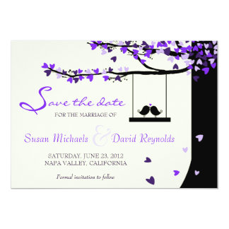 Love Birds Falling Hearts Oak Tree Save the Date 5x7 Paper Invitation Card