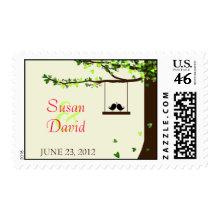 Love Birds Falling Hearts Oak Tree Stamp