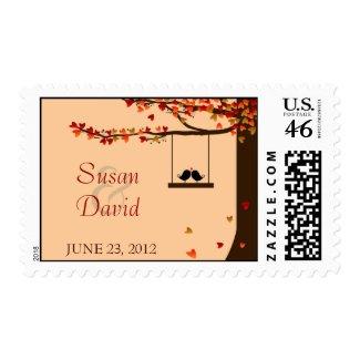 Love Birds Falling Hearts Oak Tree Stamp stamp