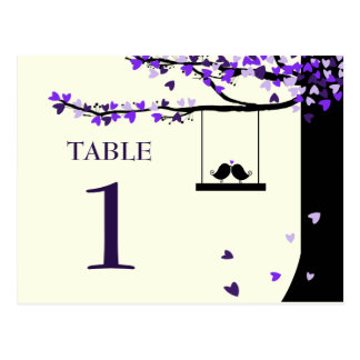 Love Birds Falling Hearts Oak Tree Table Number Post Cards