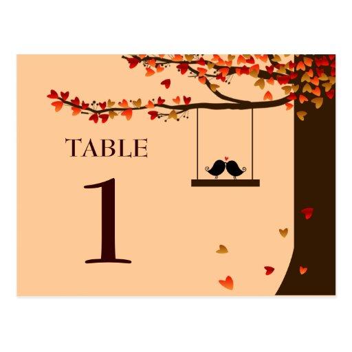 Love Birds Falling Hearts Oak Tree Table Number Postcard