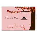 Love Birds Falling Hearts Oak Tree Thank You Note Greeting Card