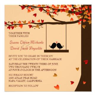 Love Birds Falling Hearts Oak Tree Wedding Invite