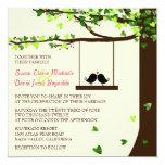 """Love Birds Falling Hearts Oak Tree Wedding Invite 5.25"""" Square Invitation Card"""