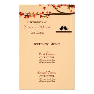 Love Birds Falling Hearts Oak Tree Wedding Menu