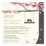Love Birds Falling Hearts Pink Grey Oak Tree Personalized Announcements