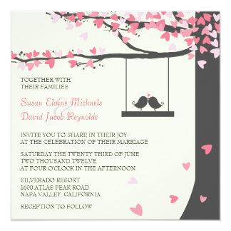 Love Birds Falling Hearts Pink Grey Oak Tree Invitation