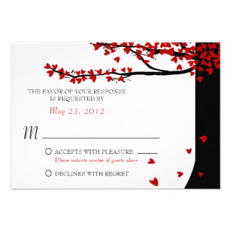 Love Birds Falling Hearts Red Black RSVP Personalized Announcement