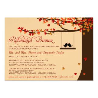 Love Birds Falling Hearts Rehearsal Dinner Card
