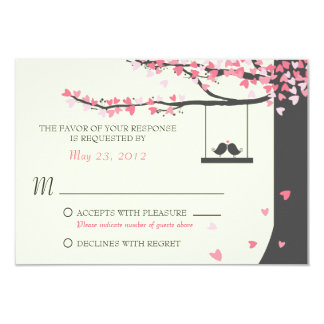 Love Birds Falling Hearts RSVP Personalized Invites