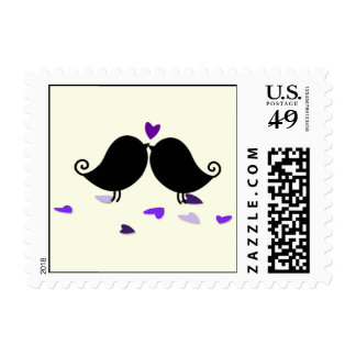 Love Birds Falling Hearts Wedding Stamps