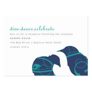 Love Birds & Feather - Teal and Navy Info Card