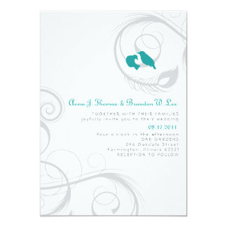 Love Birds & Feather - Teal and Navy Invitation