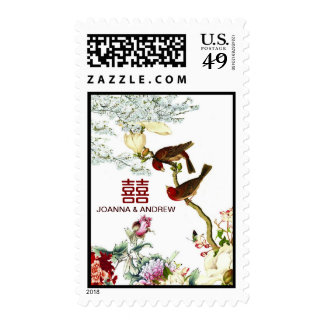 Love Birds Flourishing Flowers Chinese Wedding Postage Stamps