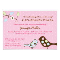 Love Birds Flower Baby Shower Invitations
