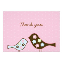 Love Birds Flower Flat Thank You Note Cards