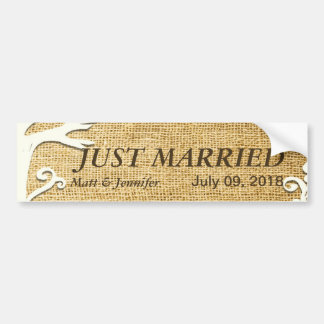 Love Birds Forever on Burlap Bumper Sticker