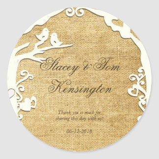 Love Birds Forever on Burlap Classic Round Sticker