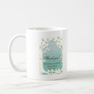 Love Birds Forever on Pastel Ocean Blue Coffee Mug