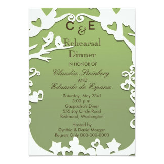 Love Birds Forever on Pastel Olive Green Card