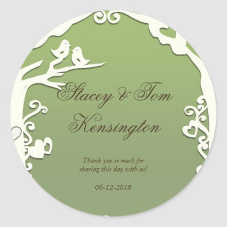 Love Birds Forever on Pastel Olive Green Classic Round Sticker
