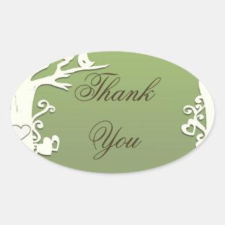 Love Birds Forever on Pastel Olive Green Oval Sticker