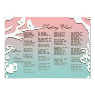 Love Birds Forever on Pastel Pink & Blue 5x7 Paper Invitation Card