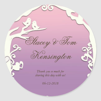 Love Birds Forever on Pastel Purple Classic Round Sticker