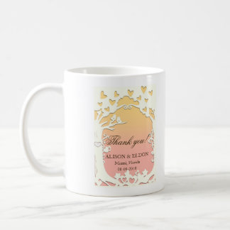 Love Birds Forever on Pastel Sunset Coral Pink Coffee Mug