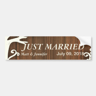Love Birds Forever on Woodpanel Bumper Sticker