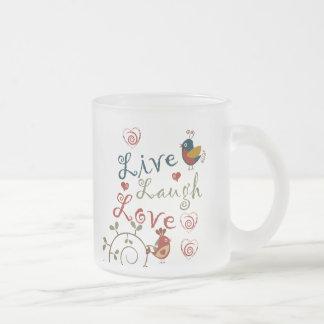 Love Birds Frosted Glass Coffee Mug