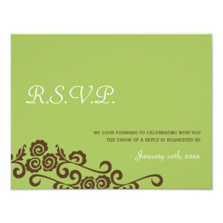 Love birds garden green wedding rsvp response 4.25x5.5 paper invitation card