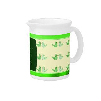 Love Birds (Green) Beverage Pitcher