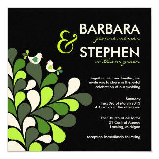 "Love Birds - Green Black Felt Wedding Invitations 5.25"" Square Invitation Card"
